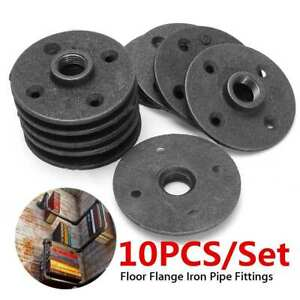 Malleable Flange 10pcs Iron Casting Fitting Wall Mount Hardware Tool Steel Seat