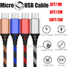 2Pack 3FT 6FT 10FT Braided Micro USB Cable Fast Charging Rapid Cord Power Charge
