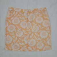 Tommy Bahama Relax Straight Skirt size 6 Linen Above Knee Floral Orange