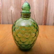 Vintage Large Green Glass Bottle Jar With Glass Stopper Circle Thumbprint