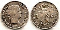 Spain-ISABEL II. 1 real. 1860. Sevilla. Plata 1,3 g. Golpecito. Escasa