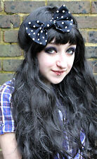 BLACK SPOT BIG BOW HAIR FOREHEAD HEAD BAND HIPSTER INDIE GRUNGE PASTEL GOTH