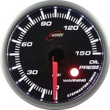 60mm AUTO GAUGE StepperMotor White LED Smoke Lens OIL PRESSURE PSI/BAR