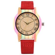 Women's Bamboo Watch Lady Quartz Wooden Wrist Watches PU Leather Strap Bracelet