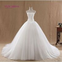White Ivory lace wedding dresses Ball Gown Lace-up Strapless long train