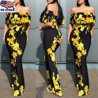 Womens Ladies Sunflower Print Off Shoulder Bodycon Party Ruffle Long Maxi Dress