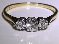 VINTAGE 18CT YELLOW GOLD PLATINUM 0.5CT DIAMOND 3 STONE ENGAGEMENT RING