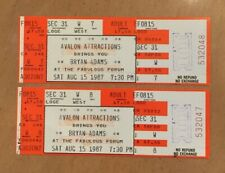 8/15/1987 Bryan Adams Full Unused Concert Tickets @ Forum in La - Lot Of 2