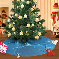 Poise3EHome Sequin Christmas Tree Skirt 48 inch Tree Skirt, Turquoise