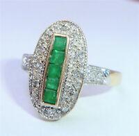 Art Deco Style 9ct Gold Emerald & Diamond Oval Ring, Size O