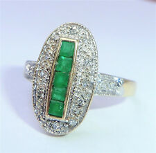 Large Art Deco Style 9ct Gold Emerald & Diamond Oval Ring, Size O