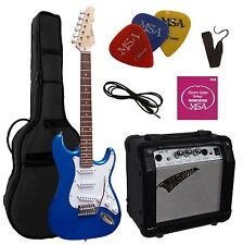 E-Gitarre Modell ST5 blau, Set, Verstärker GW15, Tasche,Band,Kabel,Saiten,Pik!n