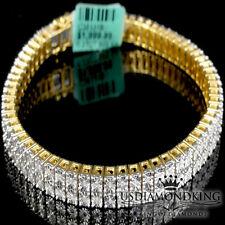 "Men's Ladies Real Genuine Diamond Yellow Gold Finish 2 Row Tennis Bracelet 8.00"""