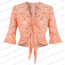 Ladies Women's Plus Size Lace Sequin ¾ Sleeve Bolero Tie up Top Shrug Cardigan 16-18 Coral