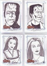 The Munsters Rittenhouse Archives 4 Card Sketch Set Chris Bolson - Herman & Lily