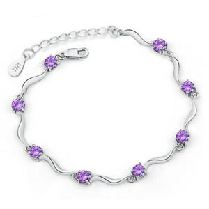 """Women Fashion s925 Sterling Silver Plated Amethyst Purple CZ Bracelet 7"""""""