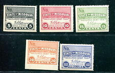5 Different MNH State of Missouri Secured Debt Tax Stamps (Lot #rn177)