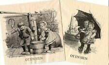 Set of 2 napkins Rare Art Children at work / Children with umbrella