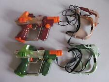 (2) Hasbro Deluxe Laser Lazer Tag Guns Green & Orange HUDS CABLES  & Quick Guide