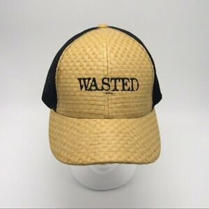 WASTED Trucker hat - Woven Straw Front - Mesh back Snapback cap