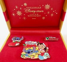 Japan Disney Mall Lilo & Stitch Christmas 3 Pin Box Set LE 300