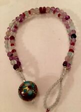 Ruby & Fluorite & Amethyst Double Row Bracelet W/ Cloisonné Ball Toggle Clasp SS