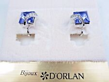 with Tanzanite Swarovski Crystals 0830 D'Orlan Rhodium Plated Clip-on Earrings