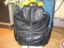 Victoria Secret Pink black vegan stud backpack shoulder bag book travel gym shop