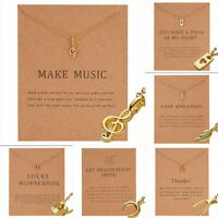 Women Music Note Wing Clavicle Short Paper Card Necklace Pendant Gold Chain Gift