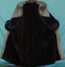 "BLACKGLAMA 50"" Long Natural Ranch Mink & Silver Fox Fur Coat Size 8-10 Free Ship"