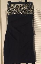 B. FASHION LADIES ELEGANT homecoming DRESS SIZE Medium  BLACK W  Gold Sequin