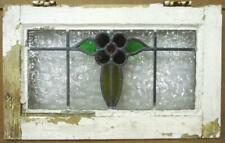 """Old English Leaded Stained Glass Window Very Cute Flower Design 20.75"""" x 12.75"""""""