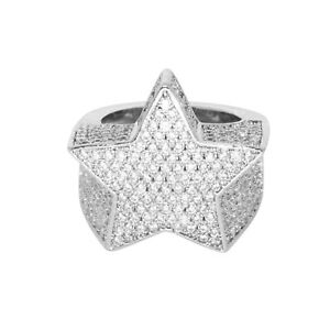 Iced VVS Diamond Out Star Ring 18K White Gold Plated Pinky Size 7 Rapper Real