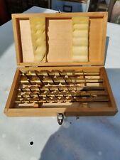 Auger Drill Bit Set 6 Piece Titanium Coated in Wood Case