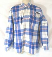 Columbia PFG Omni Shade Vented Shirt Blue Plaid Small Roll Tab Sleeve Mens CB31F