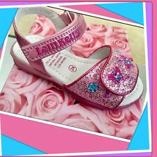 NEW! 8 (25) LELLI KELLY glitter Bead Embellished PINK SANDALS natural leather