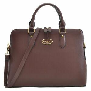 Women Briefcase Saffiano Faux Leather Laptop Bag College Satchel