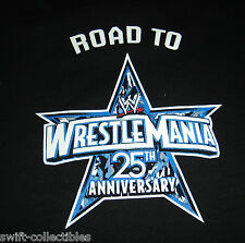 RARE WWE T-SHIRT ROAD TO WRESTLEMANIA 25 ANNIVERSARY XXL 2XL BLACK FREE SHIP ECW