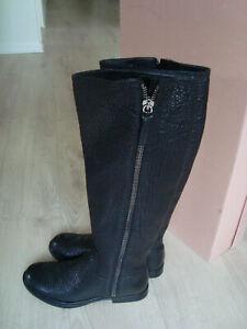 MIU MIU Black Leather Side Zip Knee-high Boots US 9 39  £740