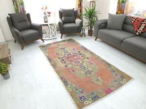 Antique Rug 4.2x8.1,Turkish Rug,Old Floor Mat,Handmade Rug,Oushak Rug,Boho Rug.