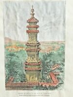 1882 Elisee Reclus Antique Steel Engraving of CHINA -View from the Summer Palace