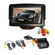 "Wireless IR Reversing Backup Camera 18LED + 4.3"" Monitor Car Rear View Kit 12V"