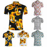 Mens Combed Cotton Short Sleeve Shirt Tropical Palm Tree Sunflower Pineapple