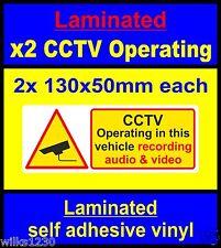 Laminato 2x CCTV in Operazione in questo veicolo la registrazione video e audio Decalcomanie