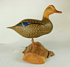 Harry V. Shourds Hand Carved Wood DUCK Signed & Dated 1973 Decoy Carver