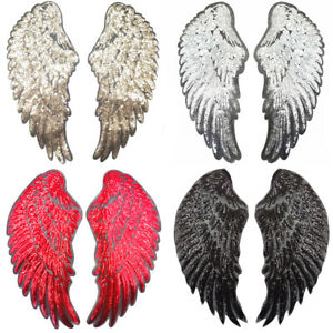 Wings Sequin Large Patch Embroidery Sew On Iron On Badge Fabric Applique Dress