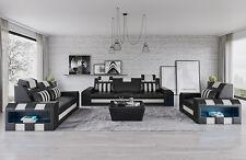 Conjunto de Sofá de Cuero Sofá Tapicería Asiento Diseñador 3+2+1 Sofás V2 Negro