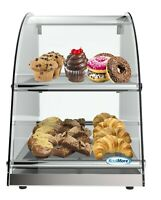 """13"""" Countertop Bakery 2 Tier Display Case with Front Curved Glass and Rear Doors"""
