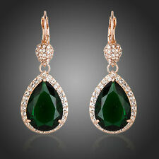 Designer Fashion Shiny Dark Green CZ Stone Drop Party Women Rose Gold P Earrings