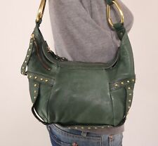 KENNETH COLE Small Medium Green Leather Shoulder Hobo Tote Satchel Purse Bag